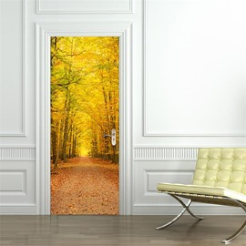 30×79in Yellow Trees and Path PVC Environmental and Waterproof 3D Door Mural