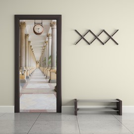 30×79in Corridor Surrounded by Pillars and Clock PVC Waterproof 3D Door Mural