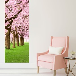 30×79in Pink Cherry Trees PVC Environmental and Waterproof 3D Door Mural