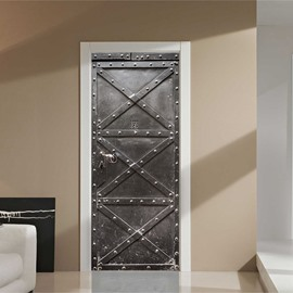 30×79in Black Iron Door with Nails Pattern PVC Environmental and Waterproof 3D Door Mural