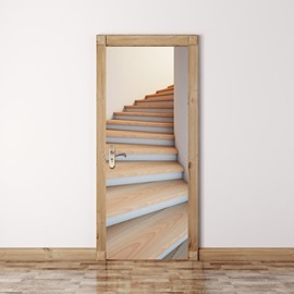 30×79in Stairs Simple Style PVC Environmental and Waterproof 3D Door Mural