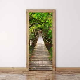 30×79in Wooden Bridge Surrounded by Green Trees PVC Waterproof 3D Door Mural