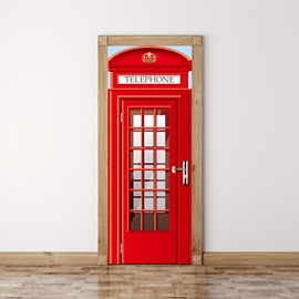 30×79in Red Telephone Box with Plaids PVC Environmental and Waterproof 3D Door Mural