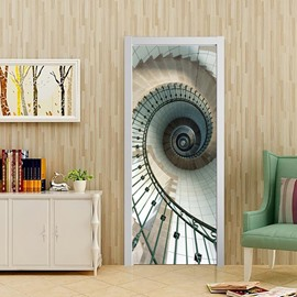 30×79in Spiral Stairs Elegant Style PVC Environmental and Waterproof 3D Door Mural