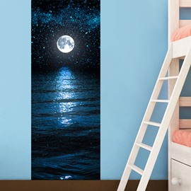30×79in Blue Moonlight and Sea Level PVC Environmental and Waterproof 3D Door Mural