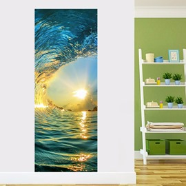 30×79in Sun and Sea Tide PVC Environmental and Waterproof 3D Door Mural
