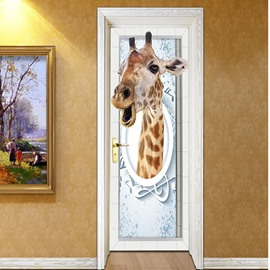 30×79in Giraffe PVC Durable Environmental and Waterproof 3D Door Mural