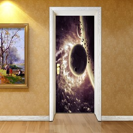 30×79in Planet in Universe Pattern PVC Environmental and Waterproof 3D Door Mural