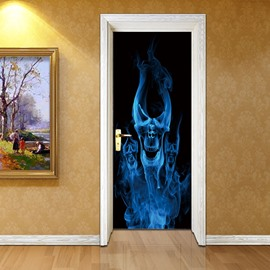 30×79in Blue Skull Smoke Pattern PVC Environmental and Waterproof 3D Door Mural