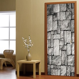 30×79in Grey Bricks Pattern PVC Environmental and Waterproof 3D Door Mural