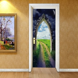 30×79in Green Field and Star Sky PVC Environmental and Waterproof 3D Door Mural