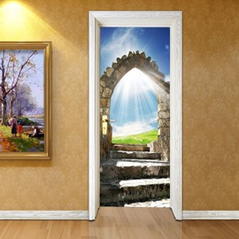 30×79in Blue Sky and Stone Door Pattern PVC Eco-friendly Waterproof 3D Door Mural