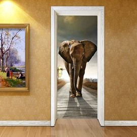 30×79in Brown Elephant PVC Environmental and Waterproof 3D Door Mural