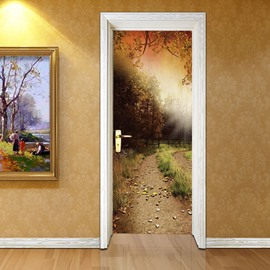 30×79in Sunshine and Forest PVC Environmental and Waterproof 3D Door Mural