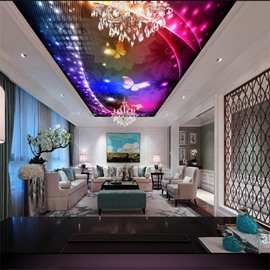 Butterflies and Flowers in Colorful Lighting Waterproof Durable and Eco-friendly 3D Ceiling Murals