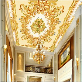 Golden Flowers Pattern Waterproof Durable and Eco-friendly 3D Ceiling Murals