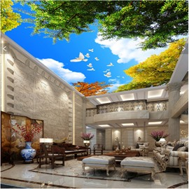 3D Trees and Doves in Blue Sky Waterproof Durable and Eco-friendly Ceiling Murals