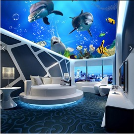 3D Dolphins Swimming in Sea Waterproof Durable and Eco-friendly Ceiling Murals