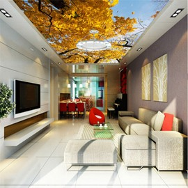 3D Yellow Leaves in Tree Waterproof Durable and Eco-friendly Ceiling Murals