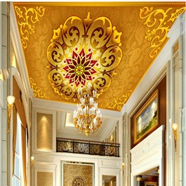 3D Yellow Background with Floral Pattern Waterproof Durable and Eco-friendly Ceiling Murals