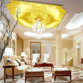 3D Golden Floral Pattern Waterproof Durable and Eco-friendly Ceiling Murals