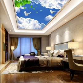 3D Blue Sky and White Clouds Waterproof Durable and Eco-friendly Ceiling Murals