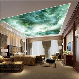 3D Green Tide Waterproof Durable and Eco-friendly Ceiling Murals