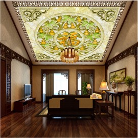 3D Chinese Fu Character and Gourds Waterproof Durable and Eco-friendly Ceiling Murals