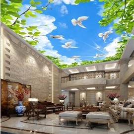 3D Doves and Green Leaves in Blue Sky Waterproof Durable Eco-friendly Ceiling Murals