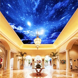 3D Blue Starry Sky Waterproof Durable and Eco-friendly Ceiling Murals