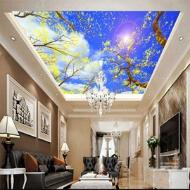 3D Blue Sky and Trees with Yellow Leaves Waterproof Durable Eco-friendly Ceiling Murals