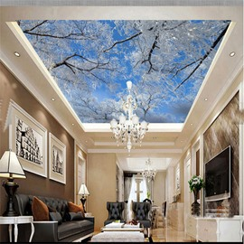 3D Snow on Branches and Blue Sky Waterproof Durable and Eco-friendly Ceiling Murals