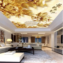 3D Chinese Characters and Flowers Printed Waterproof Durable and Eco-friendly Ceiling Murals