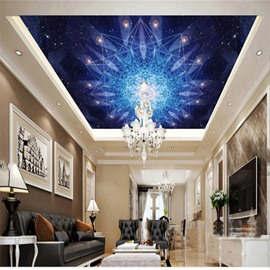 3D Booming Flowers in Galaxy Pattern Waterproof Durable and Eco-friendly Ceiling Murals