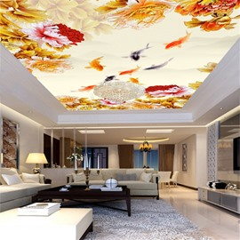 3D Beige Background with Flowers and Fishes Printed Waterproof Durable Eco-friendly Ceiling Murals
