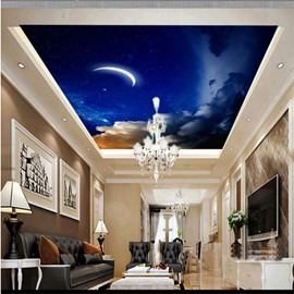 3D Moon in Blue Sky Pattern Waterproof Durable and Eco-friendly Ceiling Murals