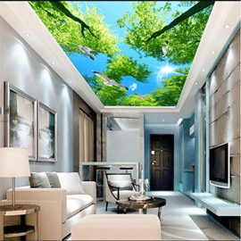 3D Green Trees under Blue Sky Pattern Waterproof Durable Eco-friendly Ceiling Murals
