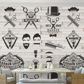 3D Barber Tools Pattern PVC Sturdy Waterproof Eco-friendly Self-Adhesive Wall Mural