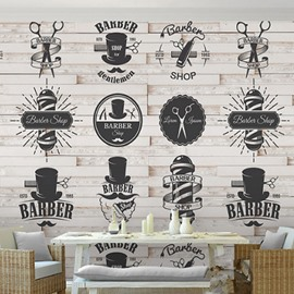 3D Black Barber Logos on White Brick Background Durable Waterproof Eco-friendly Wall Mural