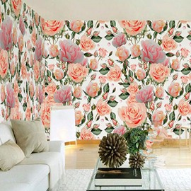 3D Pink and Orange Peonies Printed Sturdy Waterproof and Eco-friendly Wall Mural
