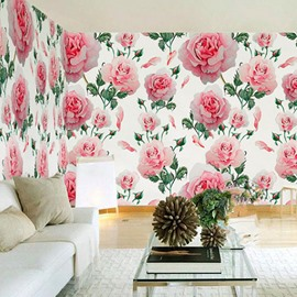 3D Pink Peonies Printed Sturdy Waterproof and Eco-friendly Wall Mural
