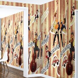 3D Dancers Printed PVC Sturdy Waterproof Eco-friendly Self-Adhesive Wall Mural