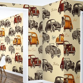 3D Black Yellow and Red Cars Printed Sturdy Waterproof and Eco-friendly Wall Mural