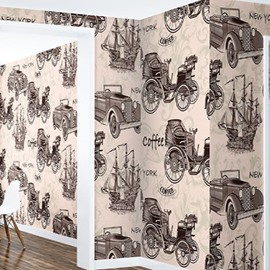 3D Vehicles Printed Vintage Style PVC Sturdy Waterproof Eco-friendly Self-Adhesive Wall Mural
