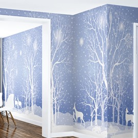 3D Blue Background with Trees and Deer Printed Sturdy Waterproof Eco-friendly Wall Mural