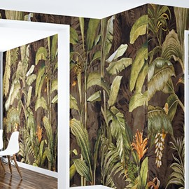 3D Green Plants Printed PVC Sturdy Waterproof Eco-friendly Self-Adhesive Wall Mural