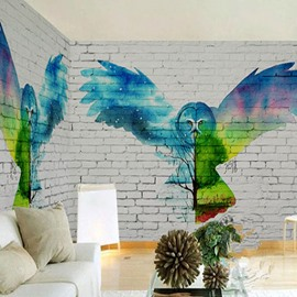 3D Colored Eagle Printed on Brick Background Sturdy Waterproof and Eco-friendly Wall Mural