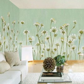 3D Flowers PVC Sturdy Waterproof Eco-friendly Self-Adhesive Light Green Wall Mural