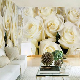 3D Beige Roses Printed Sturdy Waterproof and Eco-friendly Wall Mural