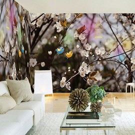 3D Birds and Plum Blossoms Printed Sturdy Waterproof and Eco-friendly Wall Mural